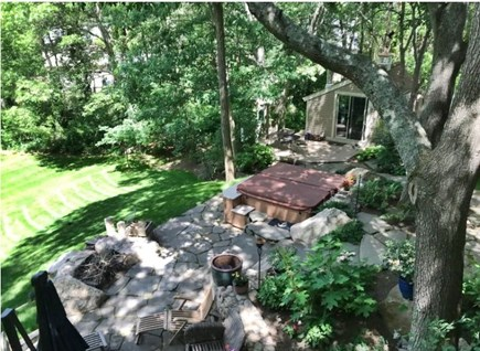 Mashpee Cape Cod vacation rental - Patio and hot tub from our deck