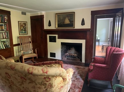 Centerville, Craigville Beach Cape Cod vacation rental - Cozy living room.  Original 1800's woodwork and fireplace.