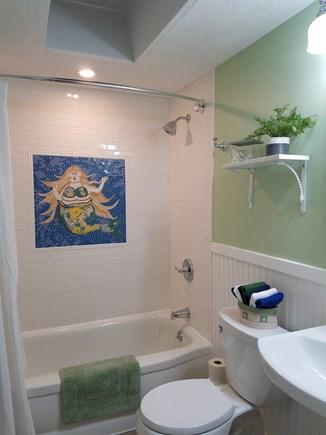 Dennis, Miramar Beach House Cape Cod vacation rental - Hallway full bathroom, tub/shower combination, skid resistant tub