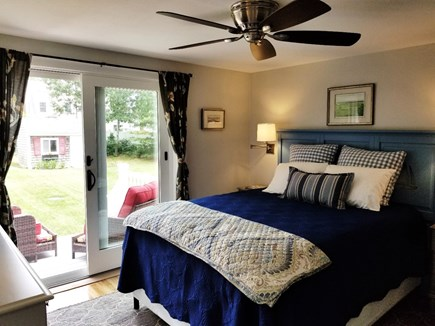 Dennis, Miramar Beach House Cape Cod vacation rental - Master queen bedroom out to deck and backyard