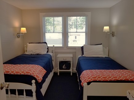 Dennis, Miramar Beach House Cape Cod vacation rental - Twin bedroom, dresser and closet, swing arm lamps for reading