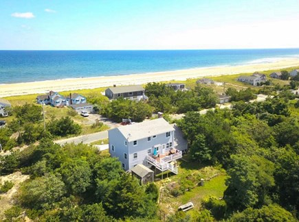Sandwich, Sagamore Beach Cape Cod vacation rental - Aerial view of backyard and beach across the street