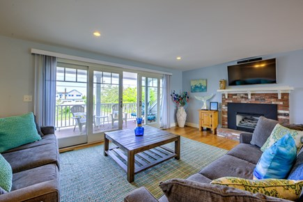 Sandwich, Sagamore Beach Cape Cod vacation rental - Living room with sliders to deck
