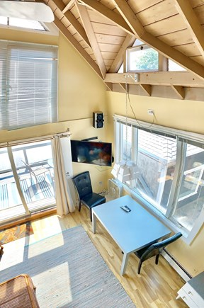 Provincetown, Mews #1 Cape Cod vacation rental - Living room with dramatic cathedral ceilings!
