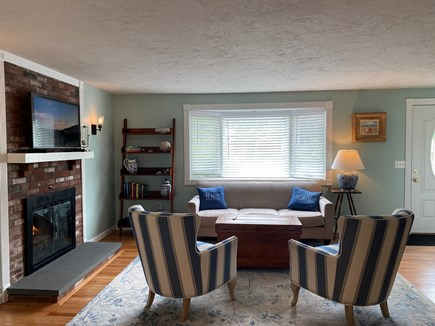 South Chatham Cape Cod vacation rental - Living room with gas fireplace and smart TV