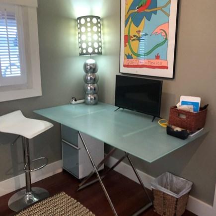 Truro Cape Cod vacation rental - Glass & chrome computer desk with monitor