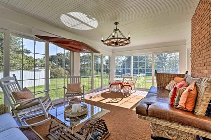 Hyannisport Cape Cod vacation rental - Sunny east facing porch.  Great spot to watch the sun rise!