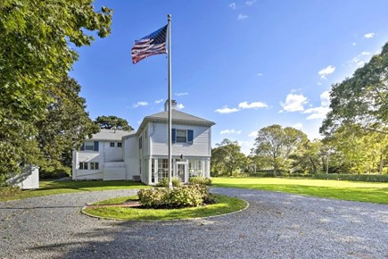 Hyannisport Cape Cod vacation rental - Side view with circular gravel driveway.