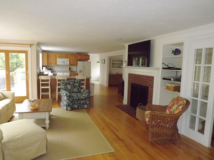Chatham Cape Cod vacation rental - Living Area with Slider to Deck and Backyard