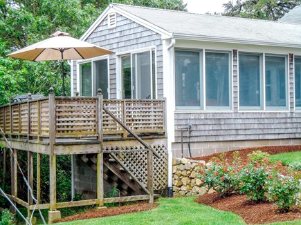 W. Chatham  Cape Cod vacation rental - Front deck with gas grill, umbrella and table for 6