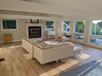 Truro Cape Cod vacation rental - Another view of Great Room w/ gas fireplace for fall nights