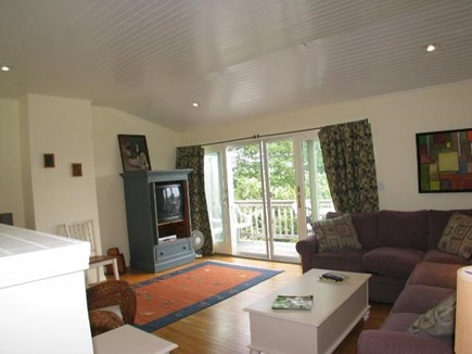Provincetown Cape Cod vacation rental - Living room and outside deck