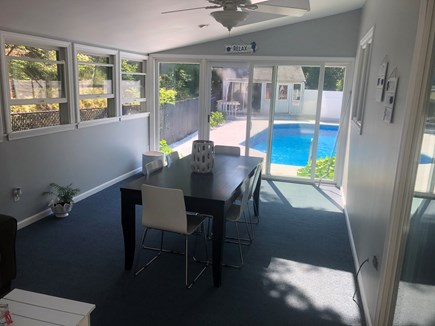 Bourne Cape Cod vacation rental - Dining room with a pool view