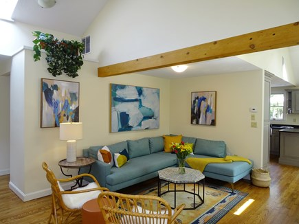 East Falmouth Waterfront Cape Cod vacation rental - Vaulted living room