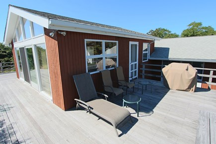 Truro Cape Cod vacation rental - Deck with BBQ Grill and seating.