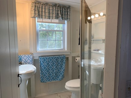 Brewster Cape Cod vacation rental - Bathroom with shower and new medicine cabinet.