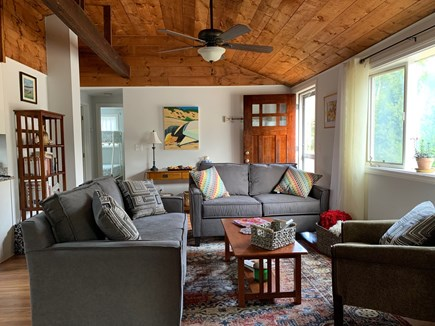 Brewster Cape Cod vacation rental - Sunny living room with cathedral ceilings