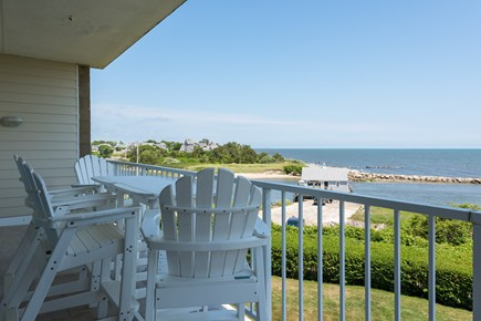 Harwich, Oceanfront Condo Cape Cod vacation rental - Balcony with Ocean views and Fish Shack