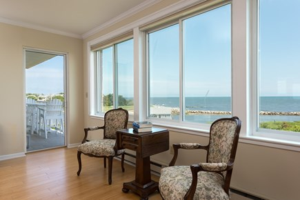 Harwich, Oceanfront Condo Cape Cod vacation rental - Living Room opens to the Deck