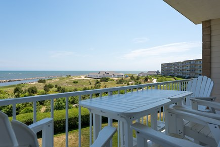 Harwich, Oceanfront Condo Cape Cod vacation rental - Balcony with views of Restaurant and Pool