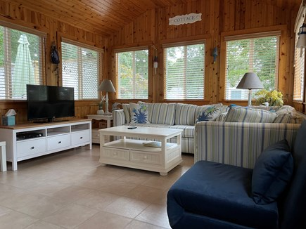 Brewster Cape Cod vacation rental - Sunroom has Queen Sleeper Sofa, Love Seat, Chair and TV