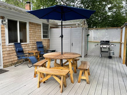 Brewster Cape Cod vacation rental - Large Private Back Deck with Picnic Table, Outdoor Shower, Grill