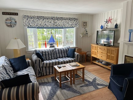 Brewster Cape Cod vacation rental - Living Room has 2 Loveseats, chair, TV and Air Conditioner