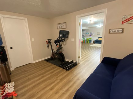 Harwich Cape Cod vacation rental - Workout space with Peloton, yoga mat and free weights