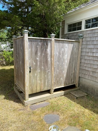 Harwichport Cape Cod vacation rental - Outdoor shower with warm after beach sun