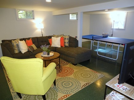 Eastham Cape Cod vacation rental - Large finished basement with TV, video games, and ping pong table