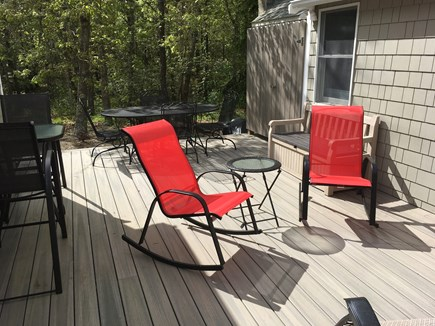 Harwich Port Cape Cod vacation rental - Back Deck Tables for 6 +  Outside shower + dsg area + gas grill.