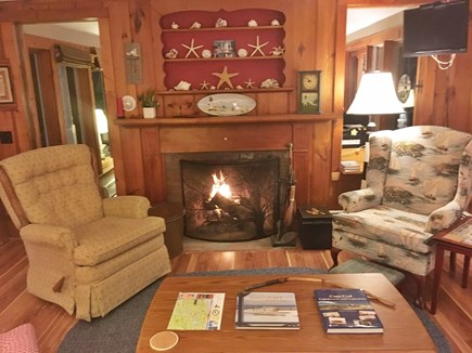 Harwich Port Cape Cod vacation rental - LR wood burning fireplace + TV