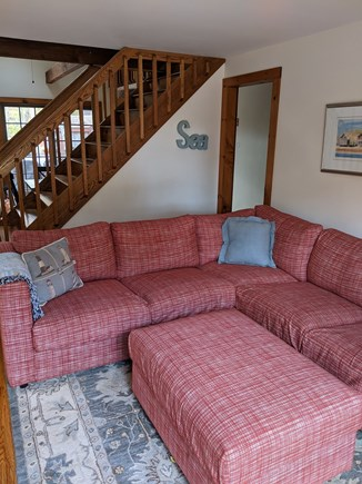 Eastham Cape Cod vacation rental - Cozy living room w/new L-shaped sectional and tons of light & AC!