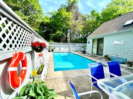 New Seabury, Pool Villa at the Mews Cape Cod vacation rental - Condo's very own private outdoor pool with relaxing patio area