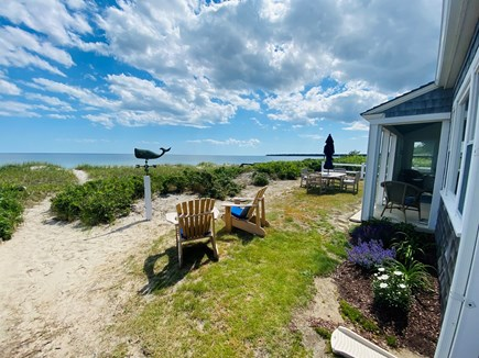 Centerville Cape Cod vacation rental - Oceanside porch & dining. Beach chairs and umbrellas included.