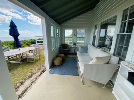 Centerville Cape Cod vacation rental - Comfy and private open porch with a view of the ocean.
