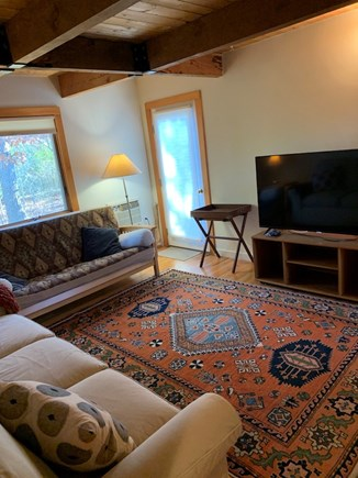 Truro, Bayside, one mile to Co Cape Cod vacation rental - TV room, back door to outside shower