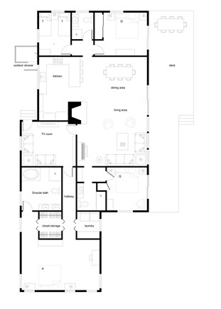 Truro, Bayside, one mile to Co Cape Cod vacation rental - Floor plan, house