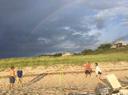 Truro, Bayside, one mile to Co Cape Cod vacation rental - Family fun at Corn Hill Beach.  Amazing light, and a rainbow!