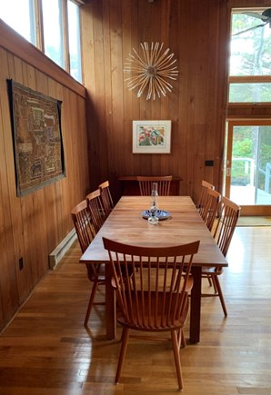 Truro, Bayside, one mile to Co Cape Cod vacation rental - Dining area, from the kitchen, facing toward deck