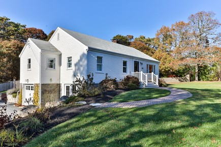 East Orleans Cape Cod vacation rental - Sunny front yard, driveway and front door.
