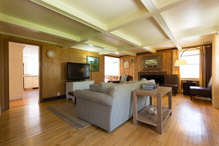 Eastham Cape Cod vacation rental - Cozy living room: Roku 4K TV with YouTube TV, Netflix, Disney+