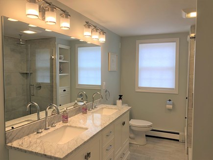 Eastham Cape Cod vacation rental - Fully renovated first floor bathroom with marble counter top