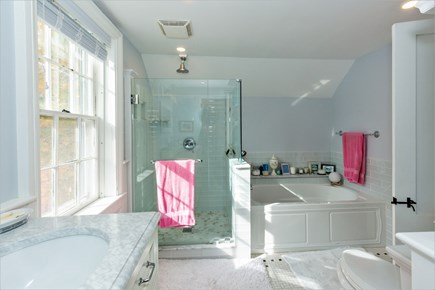 West Barnstable Cape Cod vacation rental - Fantastic master bathroom with soaking tub / glass shower
