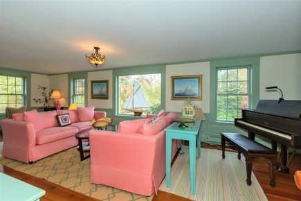 West Barnstable Cape Cod vacation rental - Spacious living room with charming built-ins and baby grand piano