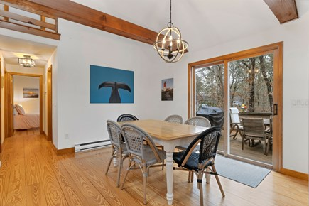 Eastham Cape Cod vacation rental - Dining area, seating for 6 with slider out to deck