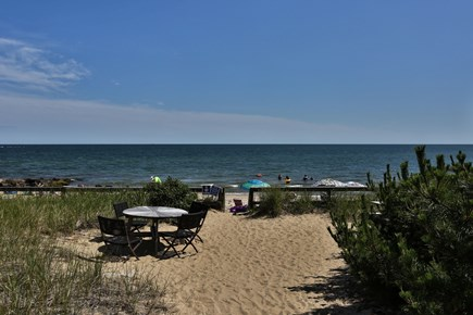 Dennis Port Cape Cod vacation rental - Landing and walkway to private Nantucket Sound beach