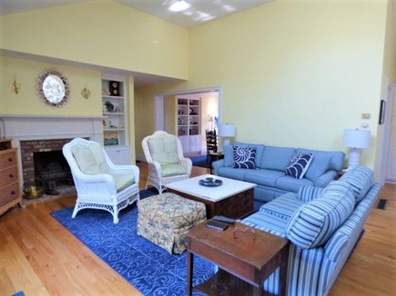 Harwich Cape Cod vacation rental - Living room that leads out to the pool area