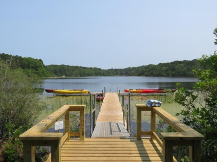 Brewster Cape Cod vacation rental - The dock at Blueberry Pond on the resort. Kayak rentals
