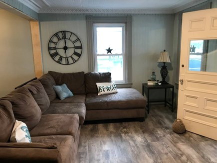 Onset MA vacation rental - Comfortable living room with welcoming sea breeze and TV.